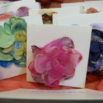 Fabric flower brooches