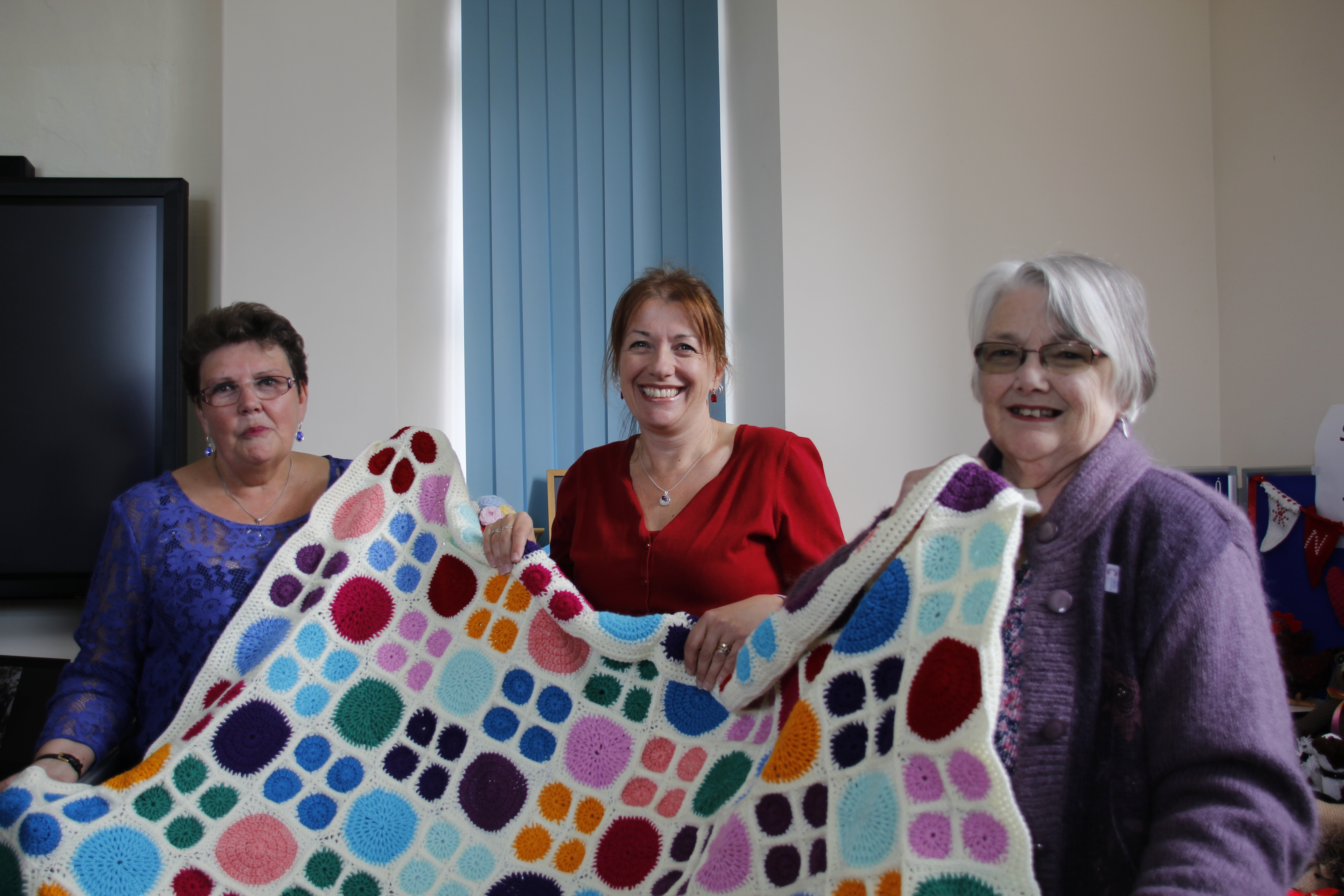 A handmade blanket donated to the charity event at ClayTAWC